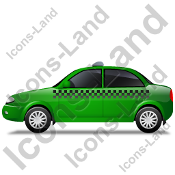 Taxi Left Green Icon, PNG/ICO, 256x256