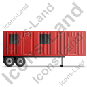 Containerized Generator Trailer Right Red Icon, PNG/ICO, 128x128