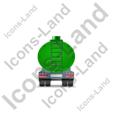 Waste Tanker Trailer Back Green Icon, PNG/ICO, 128x128