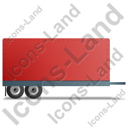 Car Trailer Right Red Icon, PNG/ICO, 256x256