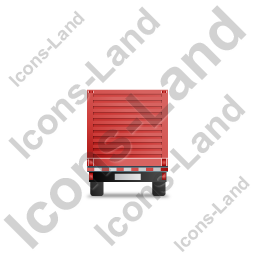 Flatbed Trailer Bulkhead Back Red Icon, PNG/ICO, 256x256