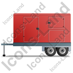 Ultra Silent Generator Trailer Left Red Icon, PNG/ICO, 256x256