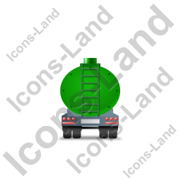 Waste Tanker Trailer Back Green Icon, PNG/ICO, 256x256