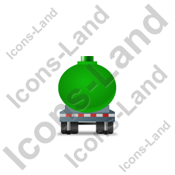 Waste Tanker Trailer Front Green Icon, PNG/ICO, 256x256