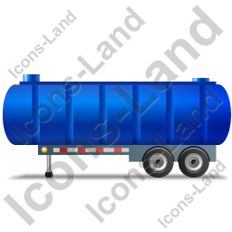 Waste Tanker Trailer Left Blue Icon, PNG/ICO, 256x256