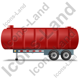 Waste Tanker Trailer Left Red Icon, PNG/ICO, 256x256