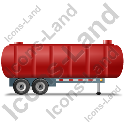 Waste Tanker Trailer Right Red Icon