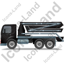 Concrete Pump Left Black Icon, PNG/ICO, 128x128