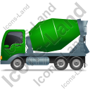 Mixer Truck Left Green Icon, PNG/ICO, 128x128