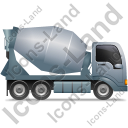 Mixer Truck Right Grey Icon, PNG/ICO, 128x128