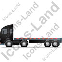 Tractor Flatbed Trailer Left Black Icon, PNG/ICO, 128x128