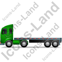 Tractor Flatbed Trailer Left Green Icon