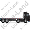 Tractor Flatbed Trailer Right Black Icon, PNG/ICO, 128x128