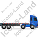 Tractor Flatbed Trailer Right Blue Icon