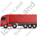 Tractor Trailer Left Red Icon