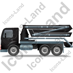 Concrete Pump Left Black Icon, PNG/ICO, 256x256