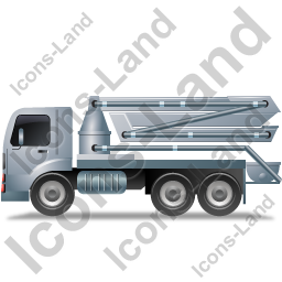 Concrete Pump Left Grey Icon, PNG/ICO, 256x256
