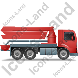 Concrete Pump Right Red Icon, PNG/ICO, 256x256