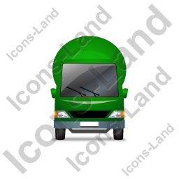 Mixer Truck Front Green Icon, PNG/ICO, 256x256