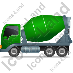 Mixer Truck Left Green Icon, PNG/ICO, 256x256