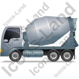 Mixer Truck Left Grey Icon, PNG/ICO, 256x256