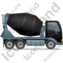 Mixer Truck Right Black Icon, PNG/ICO, 256x256