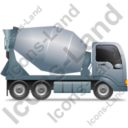 Mixer Truck Right Grey Icon, PNG/ICO, 256x256