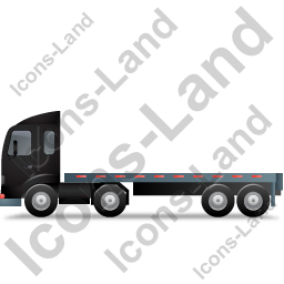 Tractor Flatbed Trailer Left Black Icon, PNG/ICO, 256x256