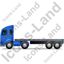 Tractor Flatbed Trailer Left Blue Icon
