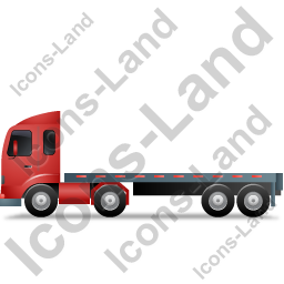 Tractor Flatbed Trailer Left Red Icon