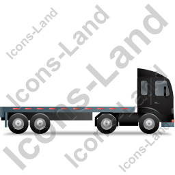 Tractor Flatbed Trailer Right Black Icon, PNG/ICO, 256x256
