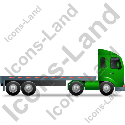 Tractor Flatbed Trailer Right Green Icon, PNG/ICO, 256x256