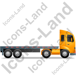 Tractor Flatbed Trailer Right Yellow Icon