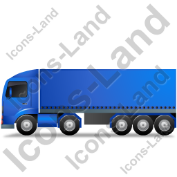 Tractor Trailer Left Blue Icon
