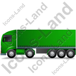 Tractor Trailer Left Green Icon