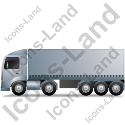 Tractor Trailer Left Grey Icon, PNG/ICO, 256x256