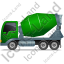 Mixer Truck Left Green Icon, PNG/ICO, 64x64