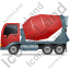 Mixer Truck Left Red Icon