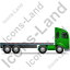 Tractor Flatbed Trailer Right Green Icon, PNG/ICO, 64x64
