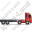 Tractor Flatbed Trailer Right Red Icon