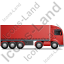 Tractor Trailer Right Red Icon, PNG/ICO, 64x64