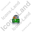 Container Ship Front Green Icon, PNG/ICO, 128x128