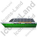 Cruise Ship Left Green Icon, PNG/ICO, 128x128
