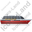 Cruise Ship Right Red Icon, PNG/ICO, 128x128