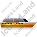 Cruise Ship Right Yellow Icon, PNG/ICO, 128x128