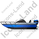 Motorboat Left Blue Icon, PNG/ICO, 128x128