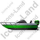 Motorboat Left Green Icon, PNG/ICO, 128x128