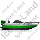 Motorboat Right Green Icon, PNG/ICO, 128x128