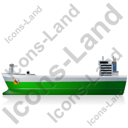 Bulk Carrier Left Green Icon, PNG/ICO, 256x256