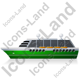 Cruise Ship Left Green Icon, PNG/ICO, 256x256